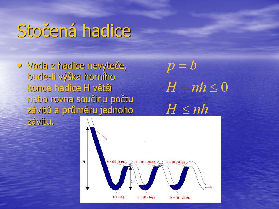 Stočená hadice Voda z hadice nevyteče, bude-li výška horního konce hadice H větší nebo rovna součinu počtu závitů a průměru jednoho závitu. Voda z had