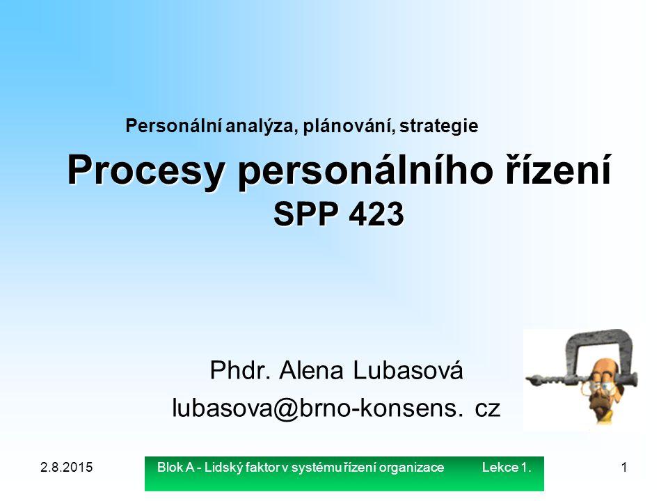 Procesy personálního řízení SPP 423 Phdr. Alena Lubasová lubasova@brno-konsens. cz 2.8.20151 Personální analýza, plánování, strategie Blok A - Lidský