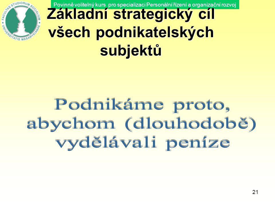 Povinně volitelný kurs pro specializaci Personální řízení a organizační rozvoj 21 Základní strategický cíl všech podnikatelských subjektů