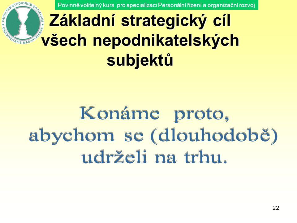 Povinně volitelný kurs pro specializaci Personální řízení a organizační rozvoj 22 Základní strategický cíl všech nepodnikatelských subjektů