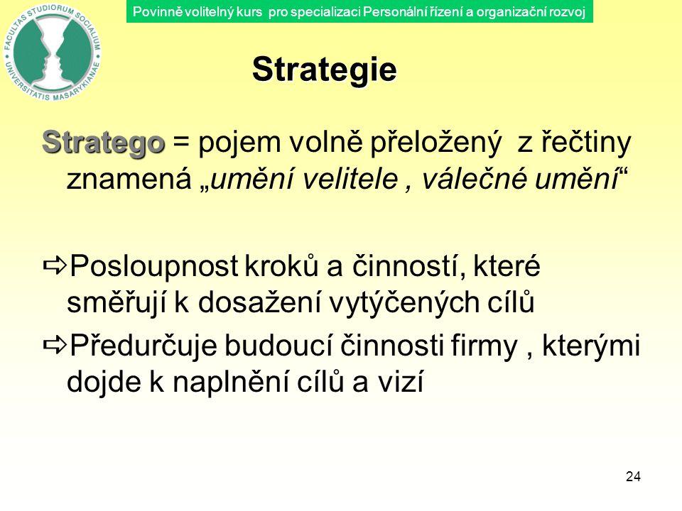 Povinně volitelný kurs pro specializaci Personální řízení a organizační rozvoj 24 Strategie Stratego Stratego = pojem volně přeložený z řečtiny znamen