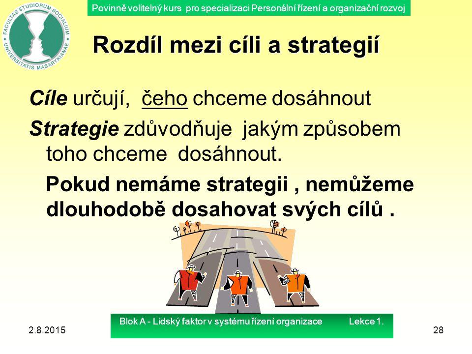 Povinně volitelný kurs pro specializaci Personální řízení a organizační rozvoj Rozdíl mezi cíli a strategií Cíle určují, čeho chceme dosáhnout Strateg
