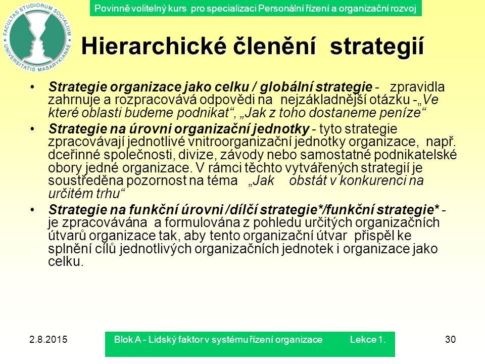 Povinně volitelný kurs pro specializaci Personální řízení a organizační rozvoj Hierarchické členění strategií Hierarchické členění strategií Strategie