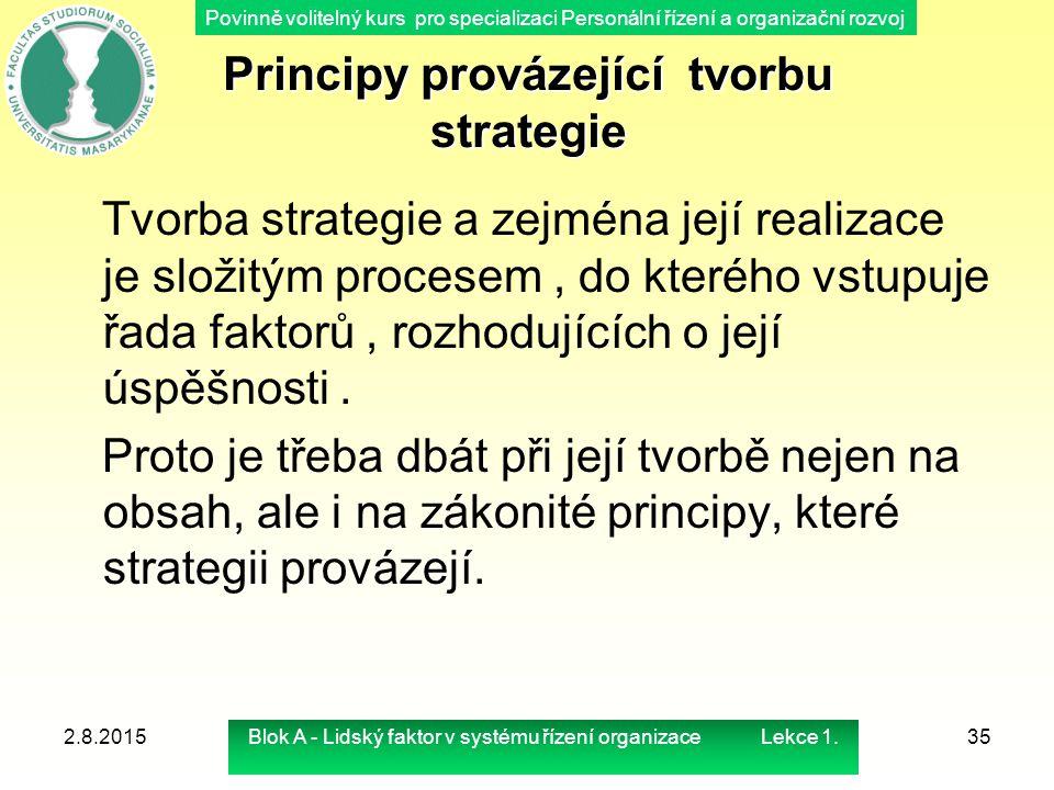 Povinně volitelný kurs pro specializaci Personální řízení a organizační rozvoj Principy provázející tvorbu strategie Principy provázející tvorbu strat