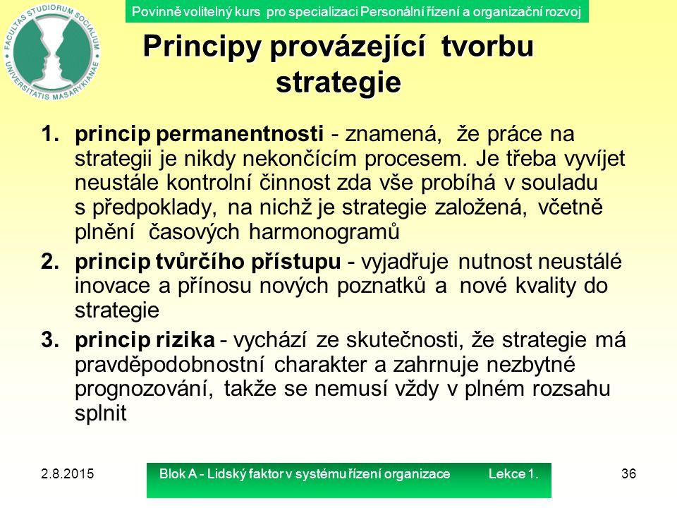 Povinně volitelný kurs pro specializaci Personální řízení a organizační rozvoj Principy provázející tvorbu strategie 1.princip permanentnosti - znamen