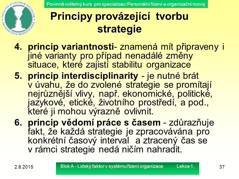 Povinně volitelný kurs pro specializaci Personální řízení a organizační rozvoj Principy provázející tvorbu strategie 4.princip variantnosti- znamená m