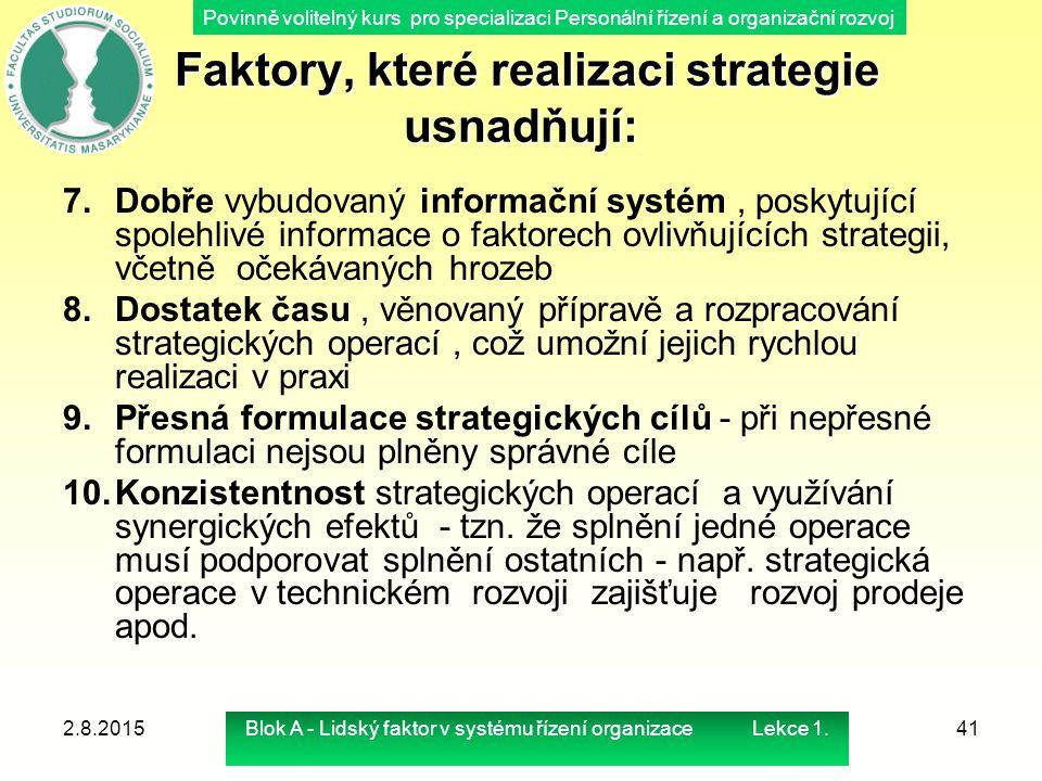Povinně volitelný kurs pro specializaci Personální řízení a organizační rozvoj Faktory, které realizaci strategie usnadňují: Faktory, které realizaci