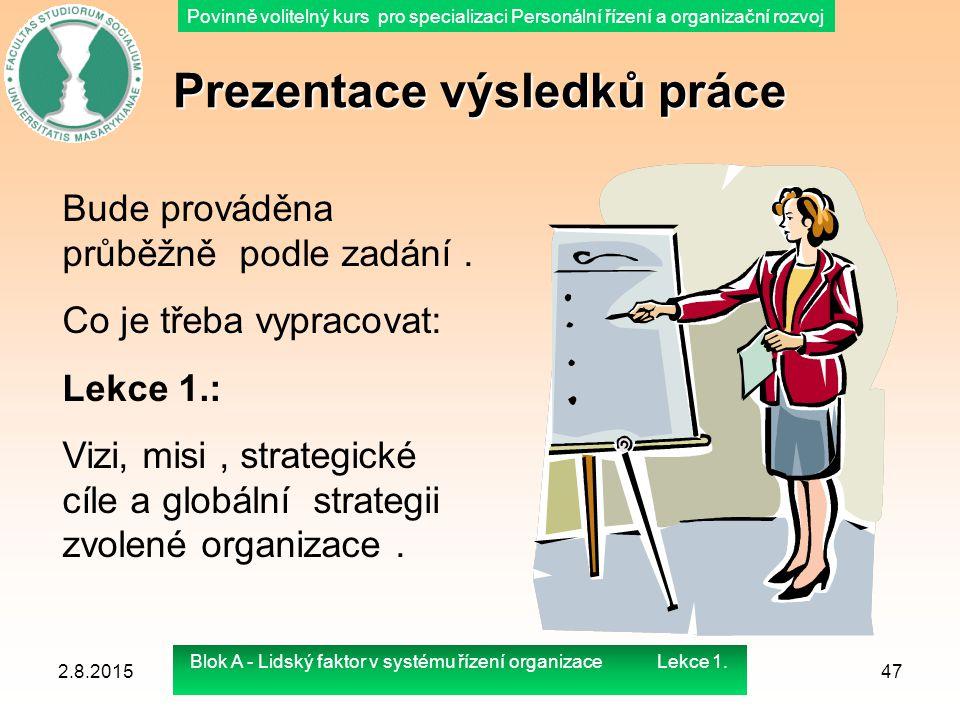 Povinně volitelný kurs pro specializaci Personální řízení a organizační rozvoj Prezentace výsledků práce 2.8.201547 Bude prováděna průběžně podle zadá