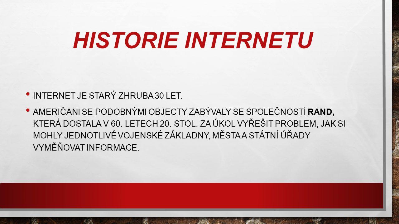 HISTORIE INTERNETU INTERNET JE STARÝ ZHRUBA 30 LET.