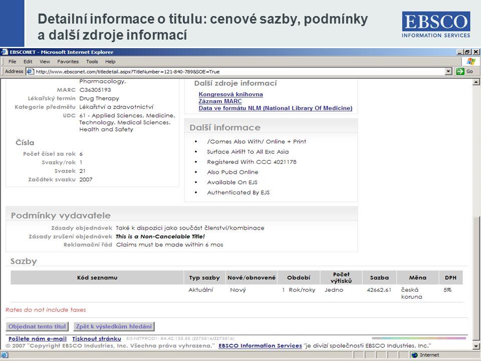 Detailní informace o titulu: cenové sazby, podmínky a další zdroje informací