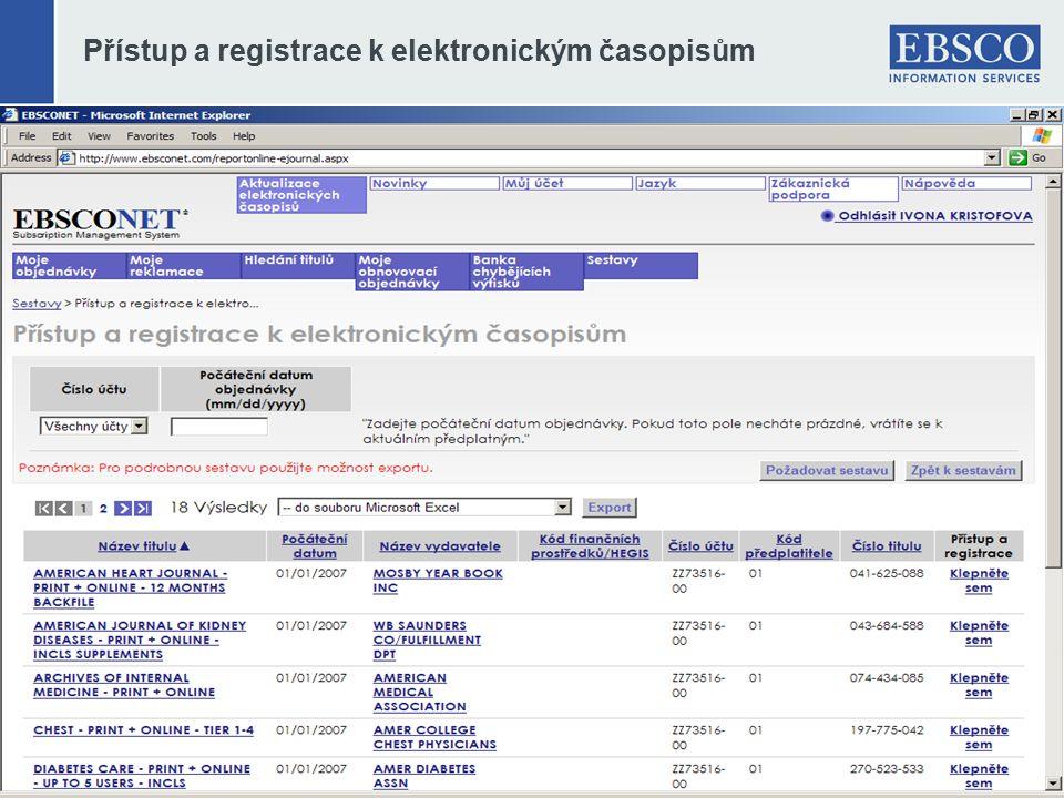 Přístup a registrace k elektronickým časopisům