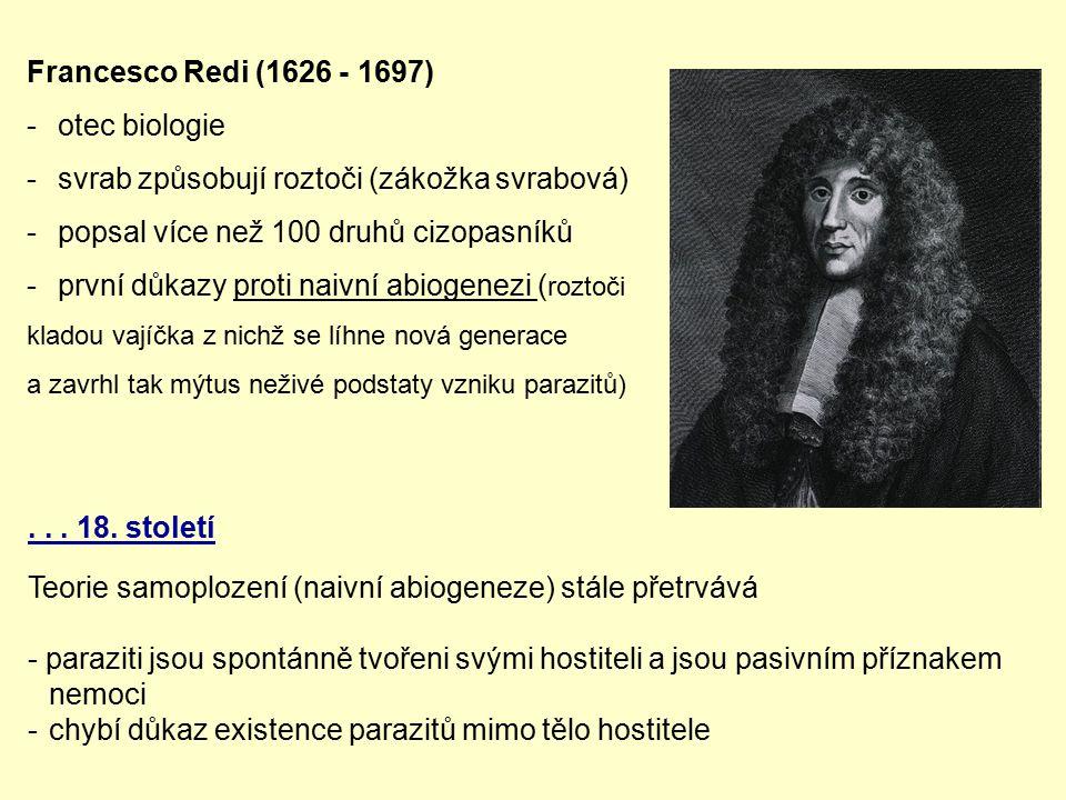 Francesco Redi (1626 - 1697) -otec biologie -svrab způsobují roztoči (zákožka svrabová) -popsal více než 100 druhů cizopasníků -první důkazy proti nai