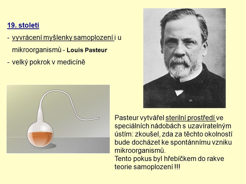 19. století -vyvrácení myšlenky samoplození i u mikroorganismů - Louis Pasteur -velký pokrok v medicíně Pasteur vytvářel sterilní prostředí ve speciál