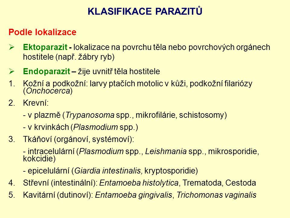 Podle lokalizace  Ektoparazit - lokalizace na povrchu těla nebo povrchových orgánech hostitele (např. žábry ryb)  Endoparazit – žije uvnitř těla hos