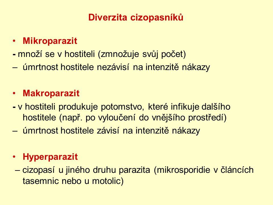 Mikroparazit - množí se v hostiteli (zmnožuje svůj počet) – úmrtnost hostitele nezávisí na intenzitě nákazy Makroparazit - v hostiteli produkuje potom