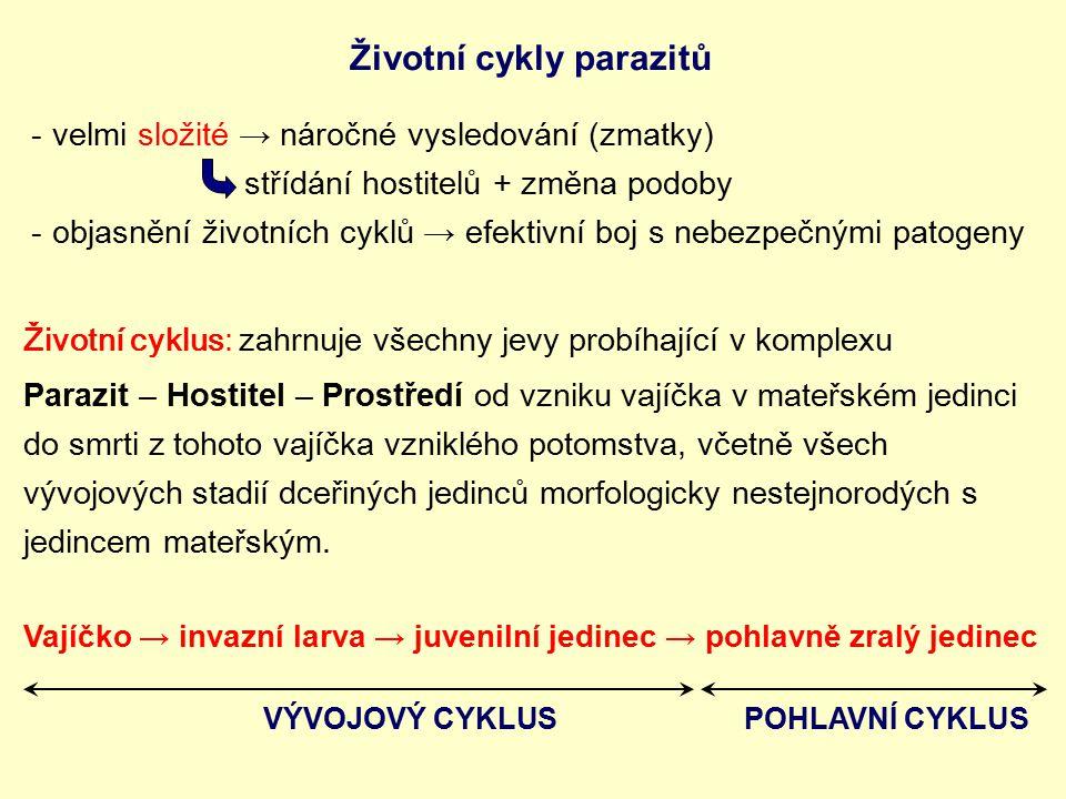 Životní cykly parazitů -velmi složité → náročné vysledování (zmatky) střídání hostitelů + změna podoby -objasnění životních cyklů → efektivní boj s ne