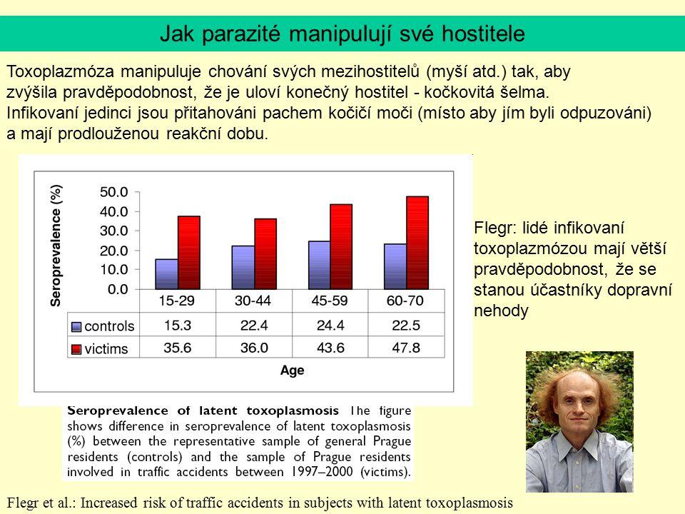 Flegr et al.: Increased risk of traffic accidents in subjects with latent toxoplasmosis Toxoplazmóza manipuluje chování svých mezihostitelů (myší atd.
