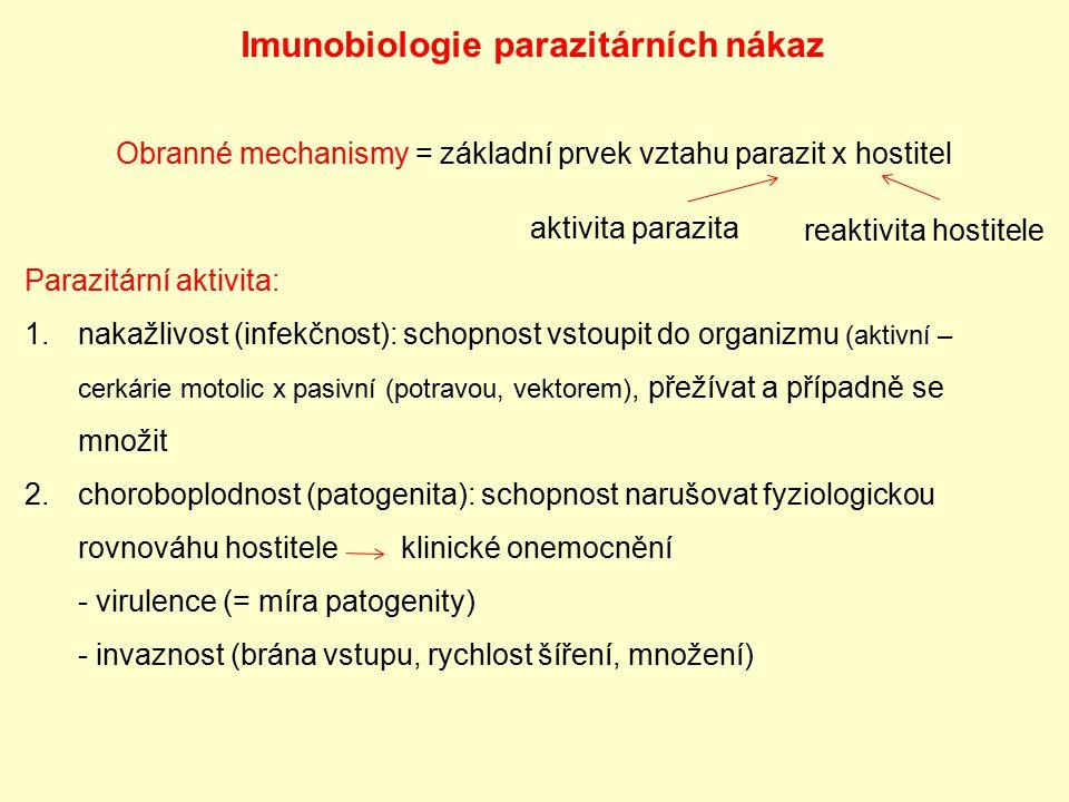 Imunobiologie parazitárních nákaz Obranné mechanismy = základní prvek vztahu parazit x hostitel aktivita parazita reaktivita hostitele Parazitární akt