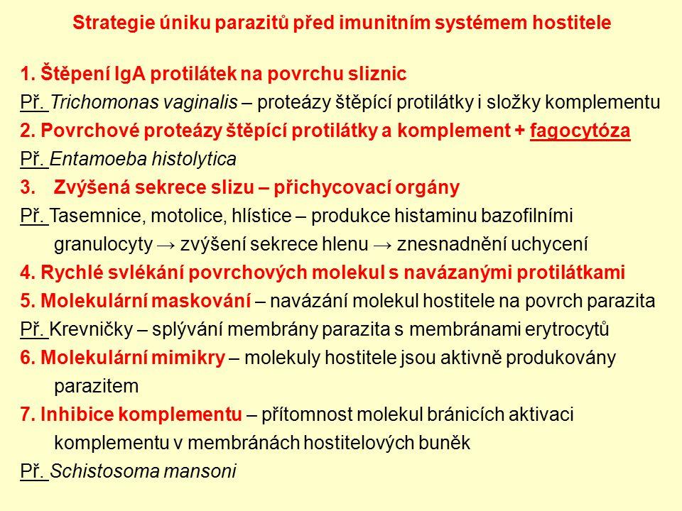 Strategie úniku parazitů před imunitním systémem hostitele 1. Štěpení IgA protilátek na povrchu sliznic Př. Trichomonas vaginalis – proteázy štěpící p