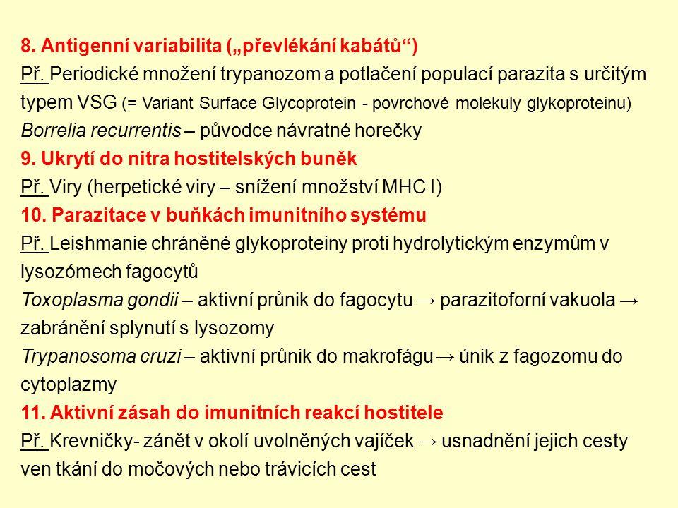 """8. Antigenní variabilita (""""převlékání kabátů"""") Př. Periodické množení trypanozom a potlačení populací parazita s určitým typem VSG (= Variant Surface"""