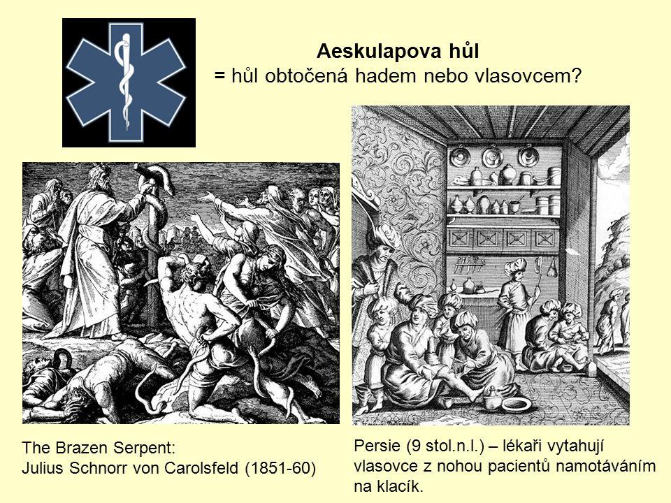 Persie (9 stol.n.l.) – lékaři vytahují vlasovce z nohou pacientů namotáváním na klacík. The Brazen Serpent: Julius Schnorr von Carolsfeld (1851-60) Ae