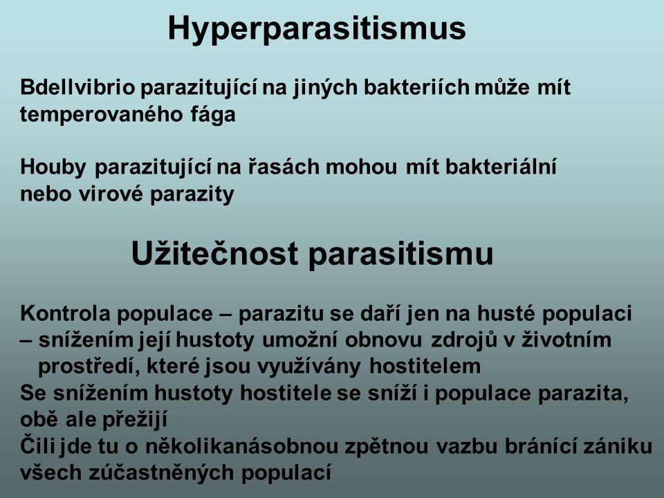 Hyperparasitismus Bdellvibrio parazitující na jiných bakteriích může mít temperovaného fága Houby parazitující na řasách mohou mít bakteriální nebo vi