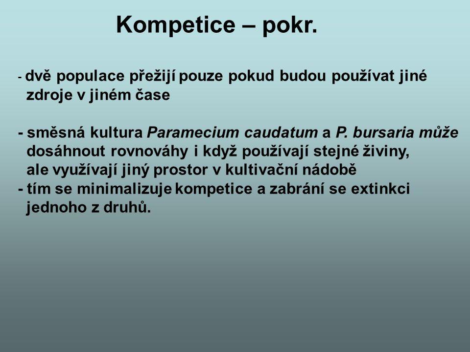 Kompetice – pokr. - dvě populace přežijí pouze pokud budou používat jiné zdroje v jiném čase - směsná kultura Paramecium caudatum a P. bursaria může d