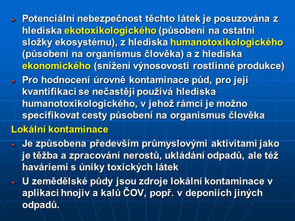 Potenciální nebezpečnost těchto látek je posuzována z hlediska ekotoxikologického (působení na ostatní složky ekosystému), z hlediska humanotoxikologického (působení na organismus člověka) a z hlediska ekonomického (snížení výnosovosti rostlinné produkce) Pro hodnocení úrovně kontaminace půd, pro její kvantifikaci se nečastěji používá hlediska humanotoxikologického, v jehož rámci je možno specifikovat cesty působení na organismus člověka Lokální kontaminace Je způsobena především průmyslovými aktivitami jako je těžba a zpracování nerostů, ukládání odpadů, ale též haváriemi s úniky toxických látek U zemědělské půdy jsou zdroje lokální kontaminace v aplikaci hnojiv a kalů ČOV, popř.