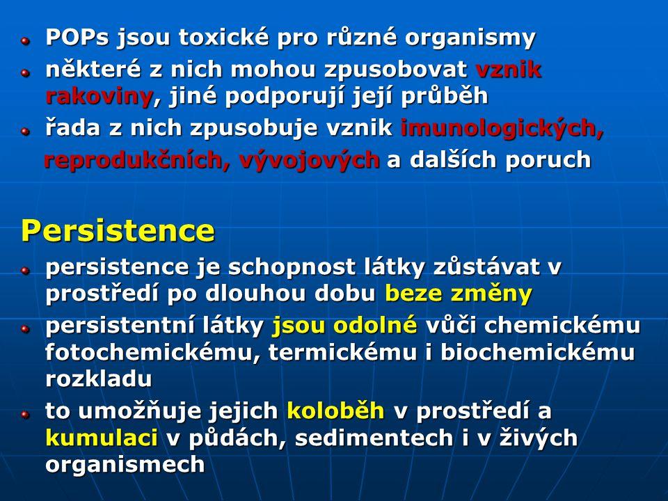POPs jsou toxické pro různé organismy některé z nich mohou zpusobovat vznik rakoviny, jiné podporují její průběh řada z nich zpusobuje vznik imunologických, reprodukčních, vývojových a dalších poruch reprodukčních, vývojových a dalších poruchPersistence persistence je schopnost látky zůstávat v prostředí po dlouhou dobu beze změny persistentní látky jsou odolné vůči chemickému fotochemickému, termickému i biochemickému rozkladu to umožňuje jejich koloběh v prostředí a kumulaci v půdách, sedimentech i v živých organismech