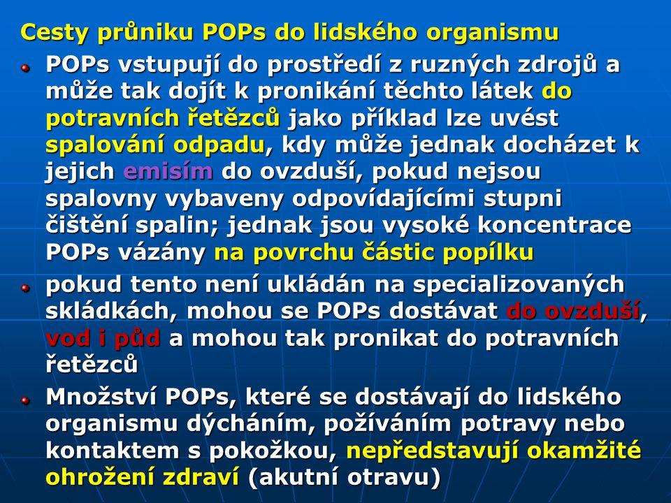 Cesty průniku POPs do lidského organismu POPs vstupují do prostředí z ruzných zdrojů a může tak dojít k pronikání těchto látek do potravních řetězců j