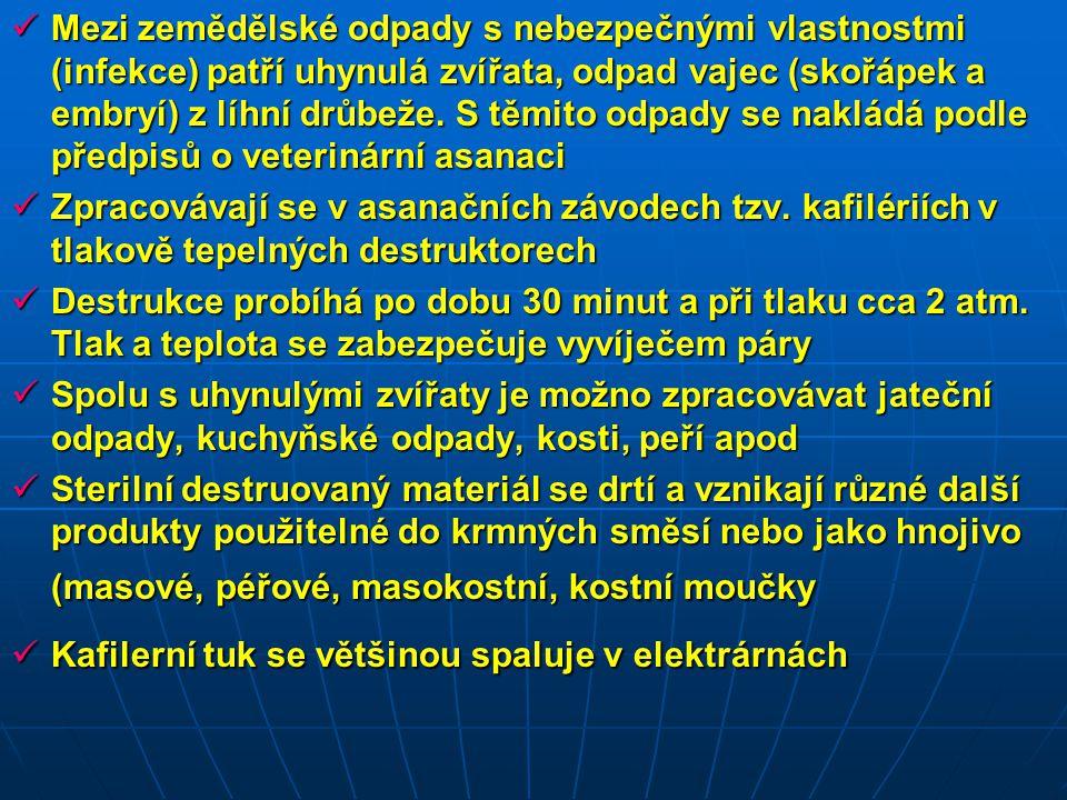 Mezi zemědělské odpady s nebezpečnými vlastnostmi (infekce) patří uhynulá zvířata, odpad vajec (skořápek a embryí) z líhní drůbeže. S těmito odpady se