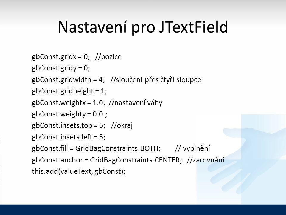 Nastavení pro JTextField gbConst.gridx = 0; //pozice gbConst.gridy = 0; gbConst.gridwidth = 4; //sloučení přes čtyři sloupce gbConst.gridheight = 1; g