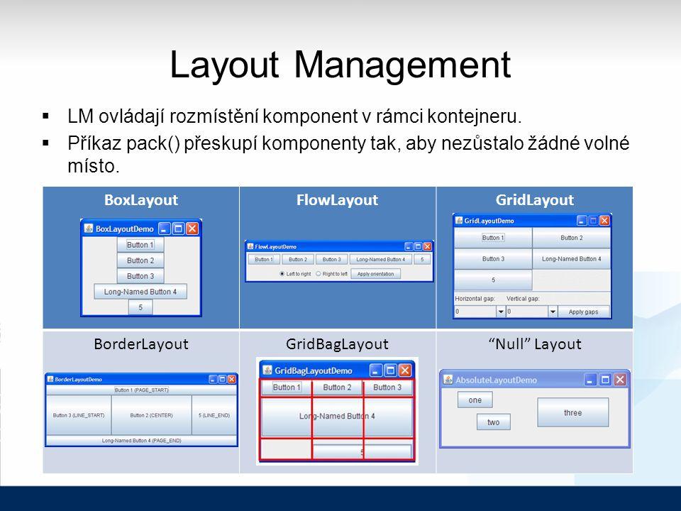 Layout Management  LM ovládají rozmístění komponent v rámci kontejneru.  Příkaz pack() přeskupí komponenty tak, aby nezůstalo žádné volné místo. Box