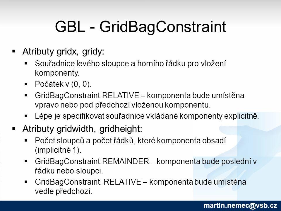GBL - GridBagConstraint martin.nemec@vsb.cz  Atributy gridx, gridy:  Souřadnice levého sloupce a horního řádku pro vložení komponenty.  Počátek v (