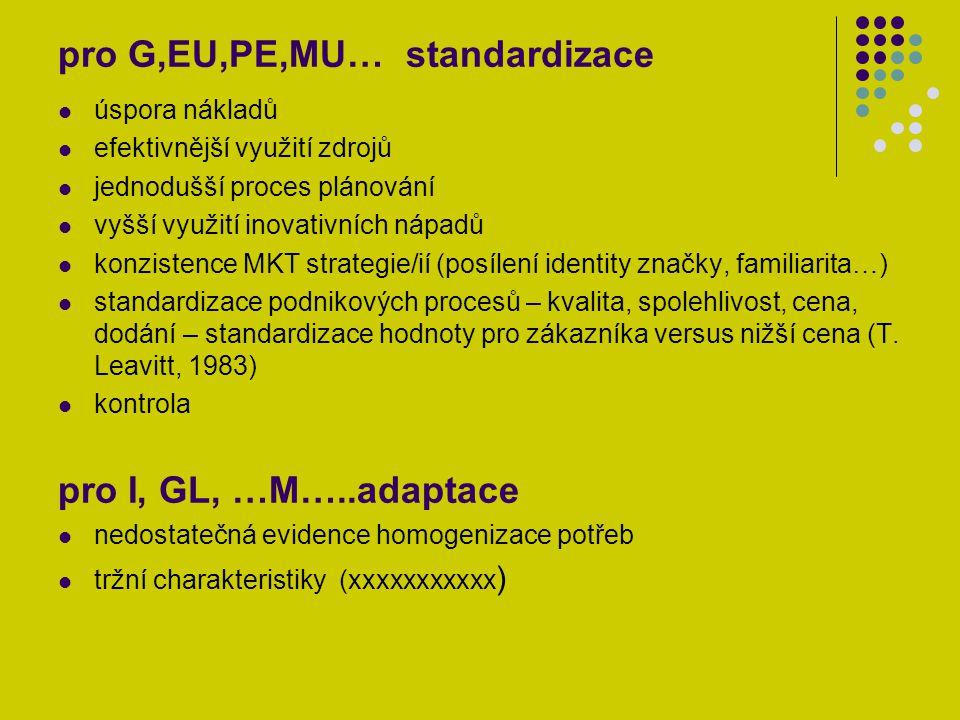"""G, MU, EU, PE MKT vysoký stupeň synergie MKT procesů a komplexnosti mezinárodních operací– maximalizace využívání výhody různých měnových kurzů, daní, nákladů na pracovní sílu, znalostí, tržních příležitostí u kontrolovatelných MKT faktorů – standardizace """"Think global, act local! I, GL, …M…..Ex MKT adaptace kontrolovatelných faktorů vzhledem k pociťovaným rozdílům nekontrolovatelných faktorů přizpůsobování mezinárodních operací, individuálnost MKT procesů v různých zemích domácí mezinárodní multinacionální globální transnacionální"""