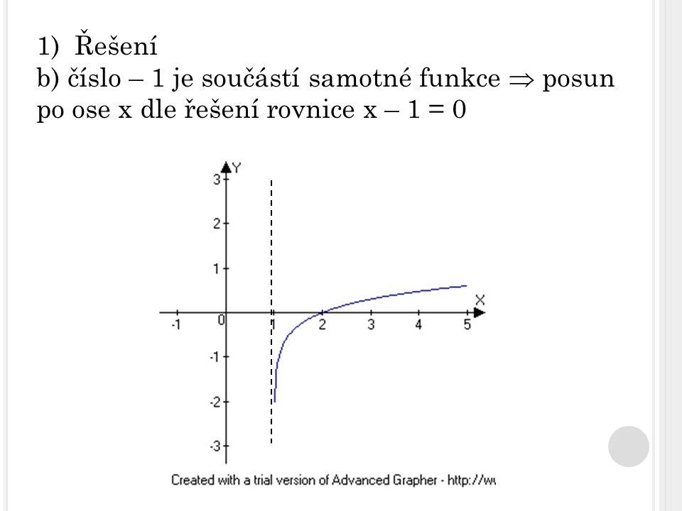 1)Řešení b) číslo – 1 je součástí samotné funkce  posun po ose x dle řešení rovnice x – 1 = 0
