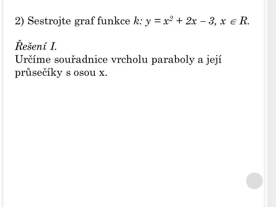 2) Sestrojte graf funkce k: y = x 2 + 2x  3, x  R. Řešení I. Určíme souřadnice vrcholu paraboly a její průsečíky s osou x.