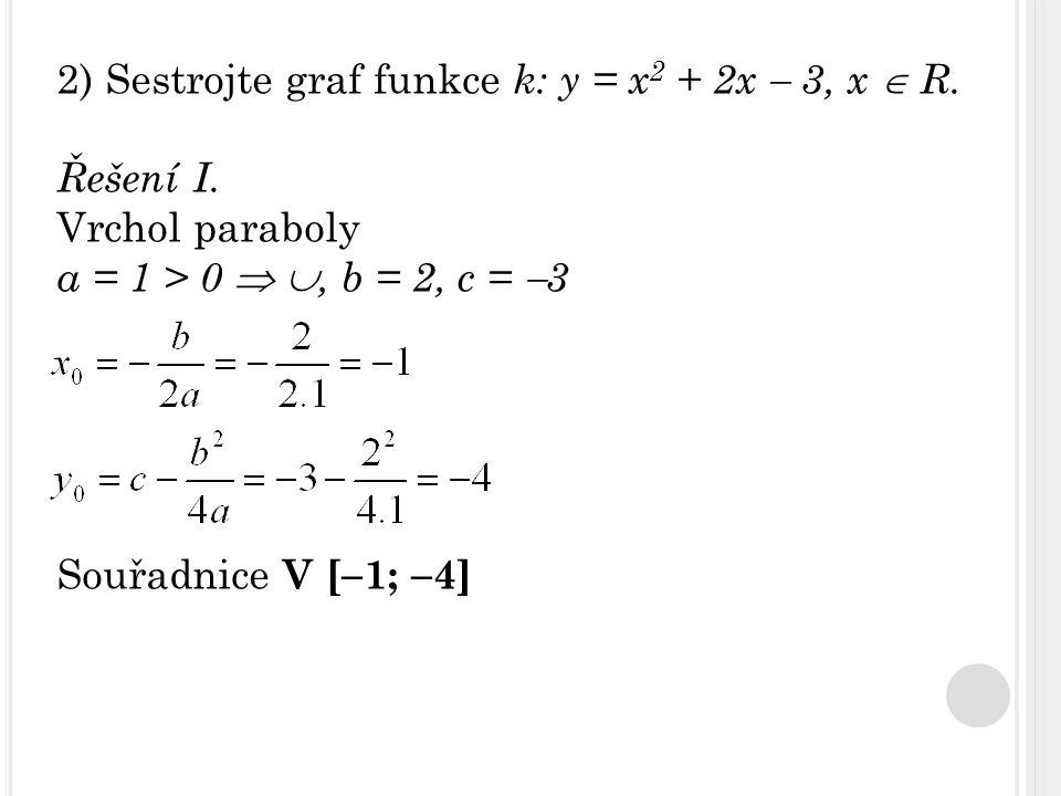 2) Sestrojte graf funkce k: y = x 2 + 2x  3, x  R. Řešení I. Vrchol paraboly a = 1 > 0  , b = 2, c =  3 Souřadnice V [  1;  4]