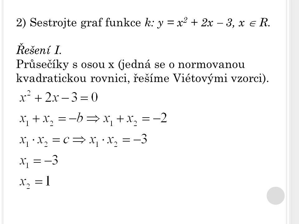 2) Sestrojte graf funkce k: y = x 2 + 2x  3, x  R. Řešení I. Průsečíky s osou x (jedná se o normovanou kvadratickou rovnici, řešíme Viétovými vzorci
