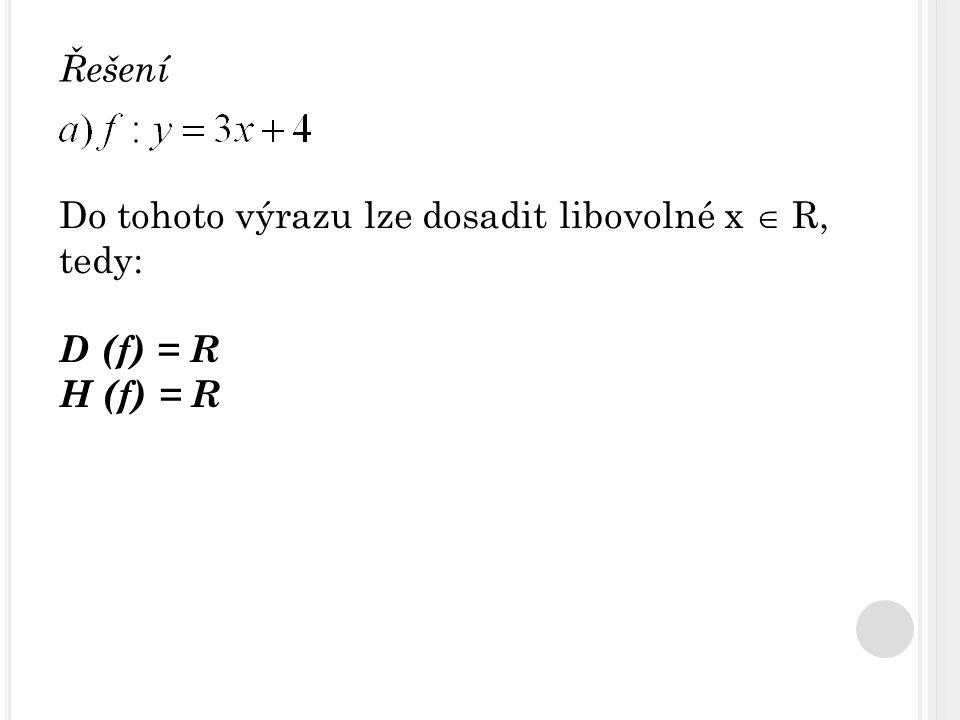 Do tohoto výrazu lze dosadit libovolné x  R, tedy: D (f) = R H (f) = R