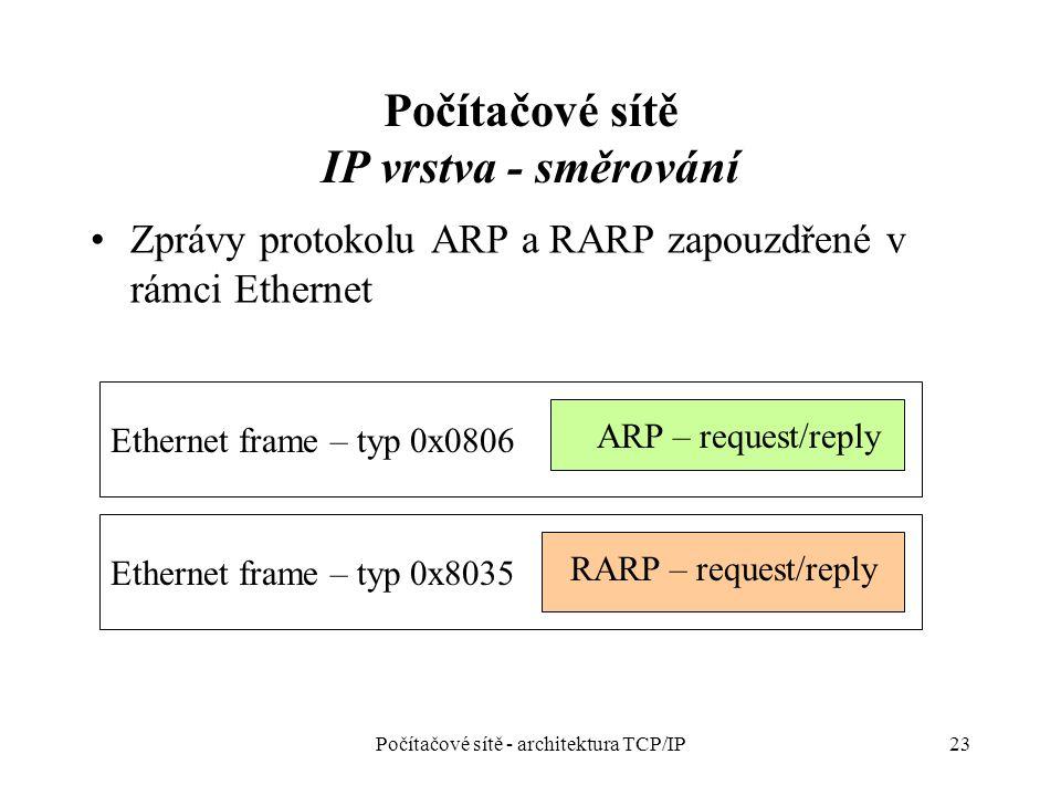 Počítačové sítě IP vrstva - směrování Zprávy protokolu ARP a RARP zapouzdřené v rámci Ethernet Počítačové sítě - architektura TCP/IP23 Ethernet frame – typ 0x8035 Ethernet frame – typ 0x0806 ARP – request/reply RARP – request/reply