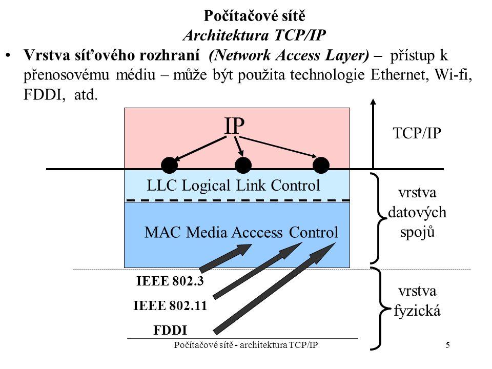 5 Počítačové sítě Architektura TCP/IP Vrstva síťového rozhraní (Network Access Layer) – přístup k přenosovému médiu – může být použita technologie Ethernet, Wi-fi, FDDI, atd.
