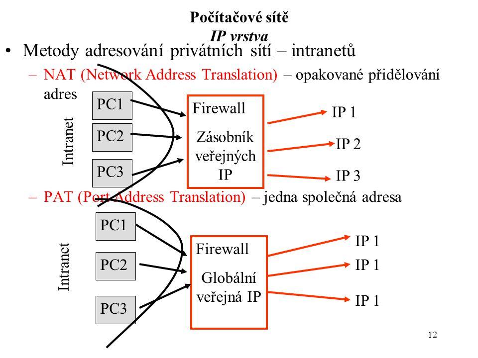 12 Počítačové sítě IP vrstva Metody adresování privátních sítí – intranetů –NAT (Network Address Translation) – opakované přidělování adres –PAT (Port Address Translation) – jedna společná adresa Firewall Globální veřejná IP IP 1 PC3 PC2 PC1 Intranet Firewall Zásobník veřejných IP IP 1 IP 2 IP 3 PC1 PC2 PC3 Intranet