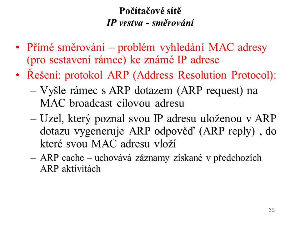 20 Počítačové sítě IP vrstva - směrování Přímé směrování – problém vyhledání MAC adresy (pro sestavení rámce) ke známé IP adrese Řešení: protokol ARP (Address Resolution Protocol): –Vyšle rámec s ARP dotazem (ARP request) na MAC broadcast cílovou adresu –Uzel, který poznal svou IP adresu uloženou v ARP dotazu vygeneruje ARP odpověď (ARP reply), do které svou MAC adresu vloží –ARP cache – uchovává záznamy získané v předchozích ARP aktivitách