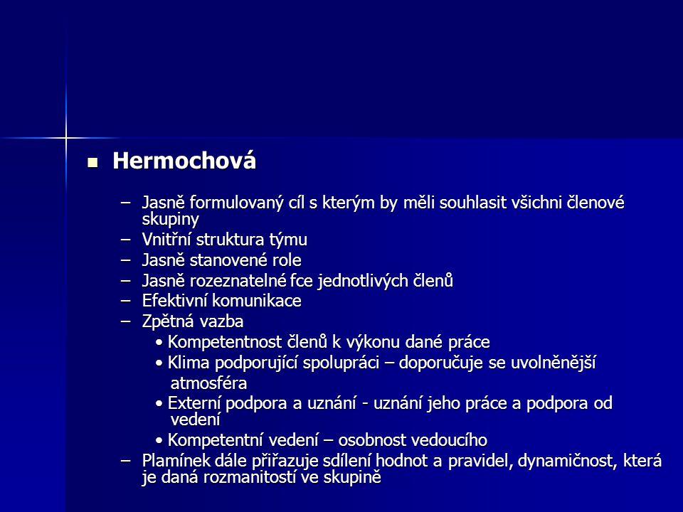 Hermochová Hermochová –Jasně formulovaný cíl s kterým by měli souhlasit všichni členové skupiny –Vnitřní struktura týmu –Jasně stanovené role –Jasně r
