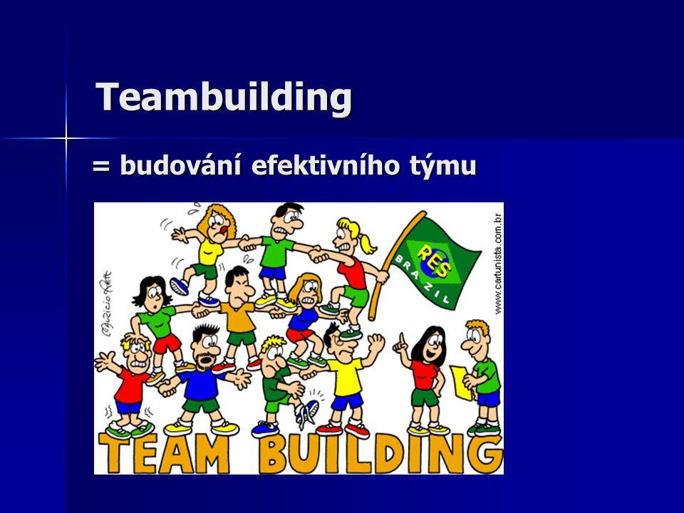 Teambuilding zahrnuje: výběr a motivování týmu výběr a motivování týmu sebeohodnocení týmu sebeohodnocení týmu práci na rozvoji týmu práci na rozvoji týmu práce na řešení konkrétního úkolu: práce na řešení konkrétního úkolu: - identifikace cíle - identifikace překážek v dosažení cíle - nalezení způsobu překonání překážek