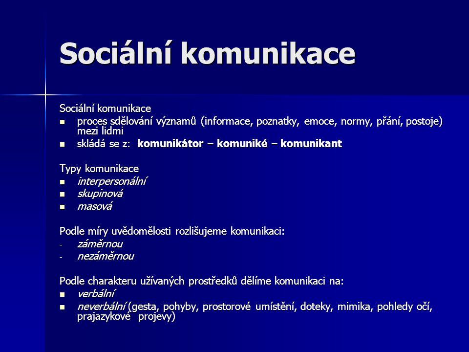 Sociální komunikace proces sdělování významů (informace, poznatky, emoce, normy, přání, postoje) mezi lidmi proces sdělování významů (informace, pozna