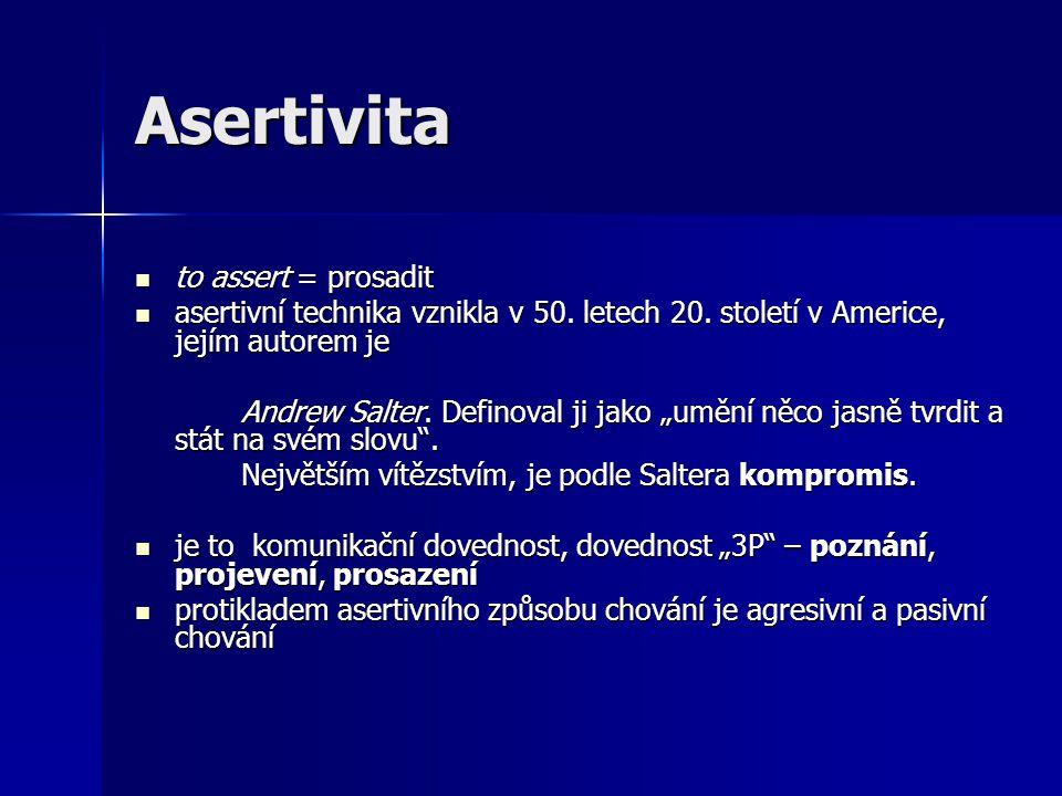 Asertivita to assert = prosadit to assert = prosadit asertivní technika vznikla v 50. letech 20. století v Americe, jejím autorem je asertivní technik