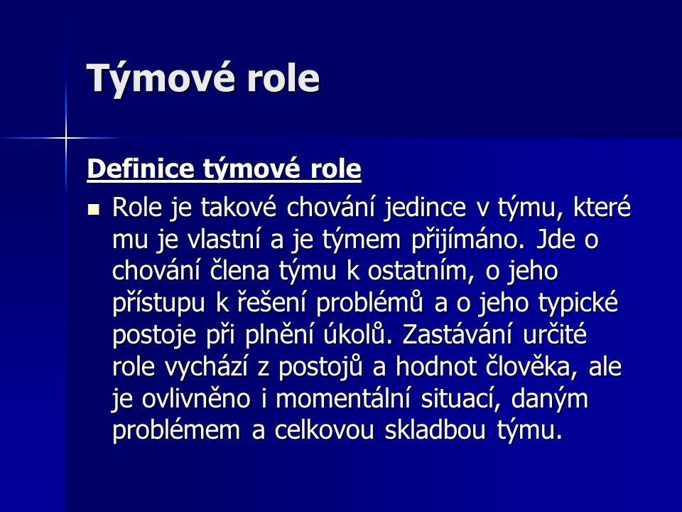 Týmové role Definice týmové role Role je takové chování jedince v týmu, které mu je vlastní a je týmem přijímáno. Jde o chování člena týmu k ostatním,