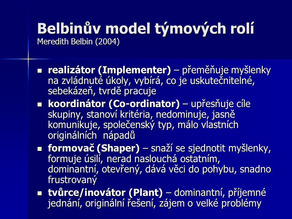 Belbinův model týmových rolí Meredith Belbin (2004) realizátor (Implementer) – přeměňuje myšlenky na zvládnuté úkoly, vybírá, co je uskutečnitelné, se